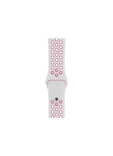 Bludfire Apple Watch Silikon Delikli Spor Kordon Kayış 1 2 3 4 5 Seri 42/44Mm Beyaz /Pembe Beyaz